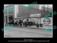 OLD LARGE HISTORIC PHOTO OF DENVER COLORADO, FITCH FOUR DRIVE TRACTOR STORE 1930