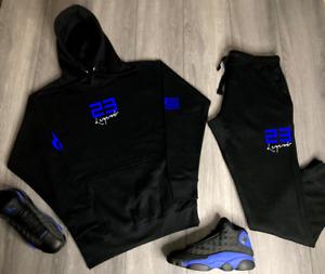 Men's Track Suit To Match Air Jordan 13 Retro Black Blue Hoodie Joggers 2pc. Set