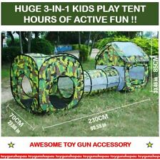 3 in 1 Kids Toddlers Tunnel up Play Tent Cubby Playhouse Indoor Outdoor Toy