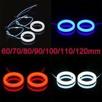 Pair Car Truck Motorcycle Halo Angle Eyes Light LED Fog Headlight Rings 60-120MM