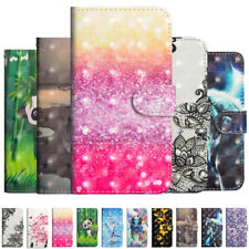 For Motorola Moto E6 G8 Painted Leather Flip Stand Card Wallet TPU Case Cover