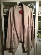 "P31 Savoir Plus Sz 28 Cream Long Cable Knit 37""Long Waterfall Cardigan&Belt NWT"