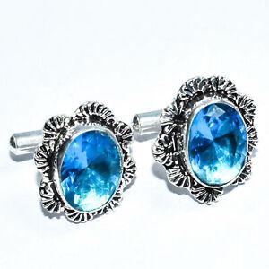 Blue Topaz 925 Strling Silver Jewlery Cuffling