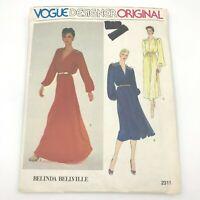 Vintage Vogue Designer Original Belinda Bellville 2311 Dress Sewing Pattern PT2