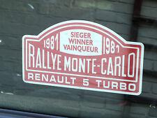 "Renault 5 Turbo Rally de Monte Carlo Winner 1981 ventana calcomanía 5 ""Clásico Race Car"
