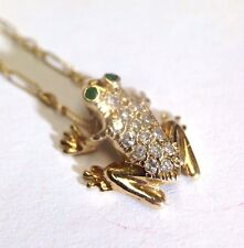 Super Cute! 14K Yellow Gold Diamond and Emerald Encrusted Frog Pendant Necklace