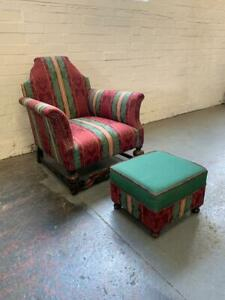 Antique William and Mary Style Arm Chair and Pouffe