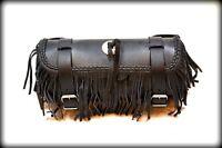 Sacoche de fourche / sac trousse à outils en Cuir avec frange lacet moto trike