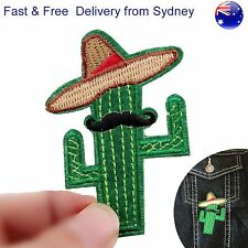 Mexican Cactus patch iron on Prickly sombrero moustache desert plant patches