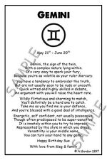 GEMINI Personalised Zodiac Star Sign Birthday Christmas Gift Poems A5