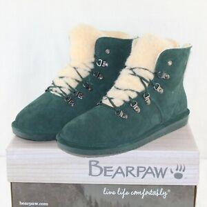 BEARPAW women lace up flat green suede/wool blend KERRI snow booties SZ 13 M NEW