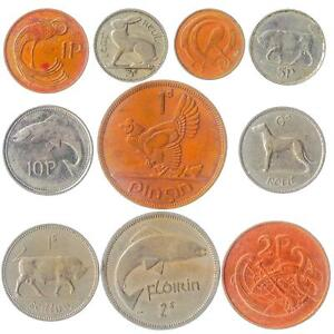 10 IRISH COINS. OLD IRELAND MONEY COLLECTION: PENNY, PENCE, FLORIN, SHILLING