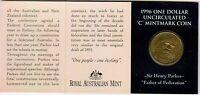 1996 Australia Sir Henry Parkes Centenary $1 Coin - Canberra 'C' Mintmark