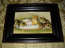 5 KITTENS DRINK MILK 6 X 8 black WOOD framed wall picture Victorian style print