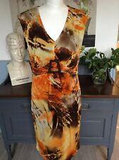 FRANK LYMAN DRESS AUTUMN COLOURS STRETCHY UK 14