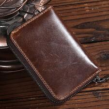 Men's Genuine Leather Zipper Wallet Pocket ID/Credit Card Holder Mini Coin Purse
