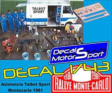 Decal calca 1/43 Citroën C35 Asistencia Talbot Sport Rally Montecarlo 1981