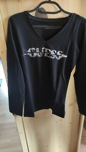 T shirt guess femme manches longues W43I26 taille L noir neuf