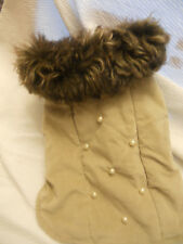 New listing Xs Winter dog coat beige with brown fo fur Pet Apparel dog coat