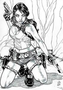 "🆕 Lara Croft (09""x12"") original comic art 1/1 by Edilson Bilas - Cosmotrama"
