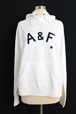 NWT Abercrombie & Fitch Women's Logo Graphic Fleece Hoodie Ivory Size L