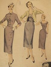 VTG 40s DESIGNER Howard Greer ADVANCE 6802 Misses Dress & Jacket PATTERN 12/30B