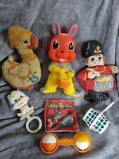 Vintage retro baby toy collection rattles rubber rag book soft dolls dog rabbit