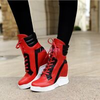 Womens High Top Ankle Boots Lace Up Sneakers High Hidden Wedge Heel Trainers HOT