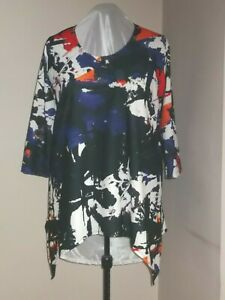 New plus size 36/38 crepe jersey tunic top with pointy hemline 66 inch bust