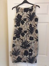 ladies COAST size 16 semi fitted sleeveless lined black mix floral print dress.