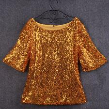 Women's Sequin Half Bell Sleeve Blouse T-Shirt Top Black Gold Silver New