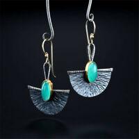 Vintage 925 Silver Long fan-shaped Earrings Ear Drop Dangle Hook Women Jewelry