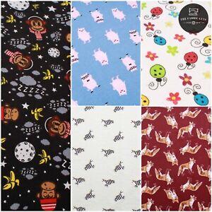 "Print Brushed Cotton, Animals, 5 Designs, Zebras/Pigs/Foxes/Monkeys/Ladybugs 57"""
