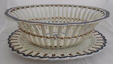 Pearlware Basket And Stand Decorative Early British Pottery Fruit Basket
