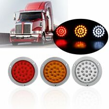 24LED Round Rear Tail Light Brake Reverse Stop Turn Signal Lamp Truck Trailer RV