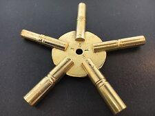 Universal Brass Clock Winding Keys 5 Prong Odd  Sizes Made in USA