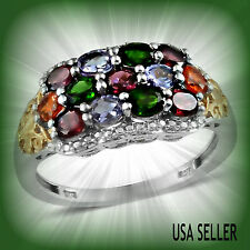 TGW 2.480 cts Russian Chrome Diopside Fire Opal Rhodolite Garnet Tanzanite  Ring