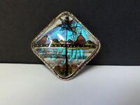 Brazil Morpho Butterfly Wing Brooch Vintage Silver Tone Pin Zitrin Blue Radiant