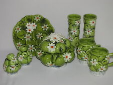 8 Pieces Inarco 1967 Apples and Daisies Mugs, Vases, Salt and Pepper, and More