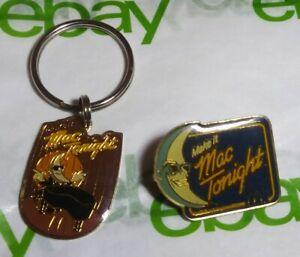Vintage RARE 80s Make it Mac Tonight McDonalds Old Moon 1980s Key Chain Pin Lot