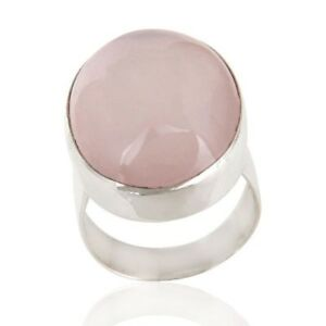 Rose Quartz Gemstone Sterling Fine Silver Artisan Ring Jewelry For Women's