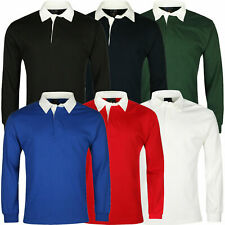 NEW Men's RUGBY Shirt Premium Long Sleeves Jumper Top Cotton Casual Regular Fit.