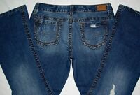 Aeropostale Hailey Skinny Flare Low Rise Denim Distress Blue Jeans 11/12 11 12