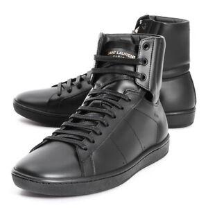 SAINT LAURENT Men's SL01H Alpha High Top Leather Sneakers Boots black NEU OVP