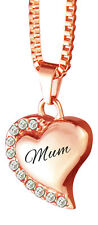 Mum Rose Gold Heart with Crystals Urn Pendant Necklace Cremation Ash Jewellery