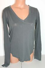 SPLENDID  Vintage Whisper Long Sleeve Tee Shirt Led Grey V Neck medium NWT $88