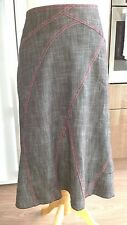 ANNE WEYBURN Skirt Grey With Red Stitching Detail size 10