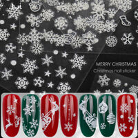 1pc 3D Nail Art Sticker Christmas White Glittery Snowflakes Xmas Decal Manicure