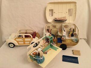 Sylvanians  Cream Car ~ Cream Caravan + Celebration Beagle Family + Towbar