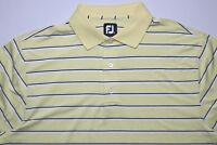 FootJoy Mens Golf Polo Shirt Size Large Yellow White Black Striped Short Sleeves